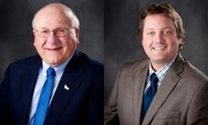Mayor Mike Kuehn (left) and former Council member Scott Thorsen (right). Photo taken from Twincities.com